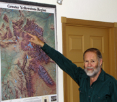 Jim Halfpenny at map of Greater Yellowstone Region